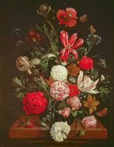 Jacob Rootius - A Still Life of flowers in a glass vase, 17th century