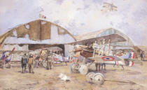 Francois Flameng - The Airfield, 1918