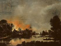 Aert van der Neer - Village on Fire
