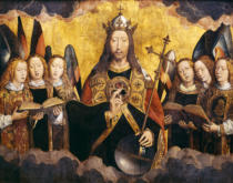 Hans Memling - Christ Blessing, central panel from a triptych from the Church of Santa Maria la Real, Najera, c.1487-90