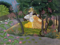 Pahari School - Krishna and Radha embracing in a grove, Kangra, Himachal Pradesh, c.1785