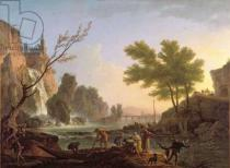 Claude Joseph Vernet - Fisherman in a landscape with a cascade and a bridge