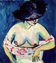 Ernst-Ludwig Kirchner - Half-Naked Woman with a Hat, 1911