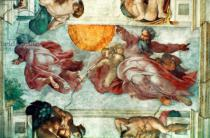 Michelangelo Buonarroti - Sistine Chapel Ceiling: Creation of the Sun and Moon, 1508-12