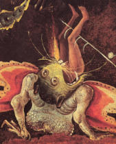 Hieronymus Bosch - The Last Judgement, detail of a man being eaten by a monster, c.1504