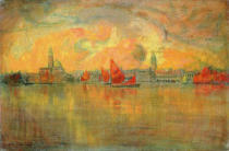 Charles Cottet - View of Venice from the Sea, 1896
