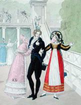 French School - A dandy being courted by two masked women, from the series Le Bon Genre