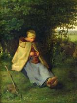 Jean-François Millet - A Knitter or a Seated Shepherdess Knitting, 1858-60