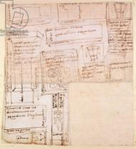 Michelangelo Buonarroti - Sketch of Marble Blocks for Statues with Notes