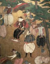 Japanese School - The Arrival of the Portuguese in Japan, detail of the Portuguese commanding the disembarkation from a Namban Byobu screen, 1594-