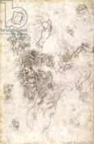 Michelangelo Buonarroti - Study of figures for 'The Last Judgement' with artist's signature, 1536-41