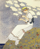 Georges Barbier - Un Peu..., design for a country dress by Paquin, 1913