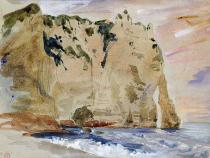 Eugène Delacroix - Cliffs of Etretat. The Pied du Cheval, 1838