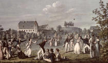Leopold Kupelwieser - Ball Games at Atzenbrugg with Franz Schubert (1797-1828) and friends seated in the foreground