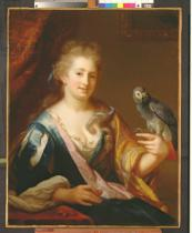 Godfried Schalcken - Portrait of a Lady feeding a parrot
