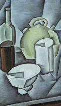 Juan Gris - Still Life with a Bottle of Wine and an Earthenware Water Jug, 1911
