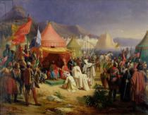 Charles Alexandre Debacq - The Taking of Tripoli, April 1102, 1842