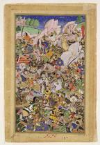 Mughal School - Battle of Bundi, from the Akbarnama, c.1590