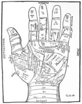 French School - The Left Hand, copy of a diagram after Jean Belot,' Oevres', Lyon 1649, used in a 'History of Magic', published late 19th centur