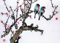 Chinese School - Pair of birds on a cherry branch, Hunan region, Republic Period (1912-49)