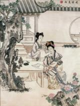 Qing Dynasty Chinese School - Chinese ladies in a garden