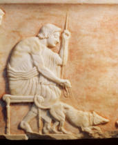 Greek School - Animal baiting, relief from a statue base found in the Dipylon cemetery, Athens, c.510 BC  (detail of 60011)