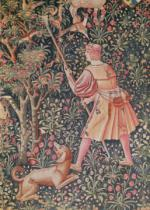 French School - A man gathering pears with a hoe, from 'Jeu de Marelle et Cueillette de Fruits', Loire Workshop, 1510