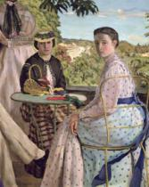 Jean Frederic Bazille - Family Reunion, detail of two women, 1867