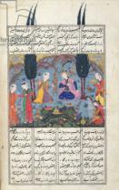 Persian School - Ms D-184 fol.381a Court Scene in a Garden, illustration from the 'Shahnama' , by Abu'l-Qasim Manur Firdawsi (c.934-c.1020) c.151