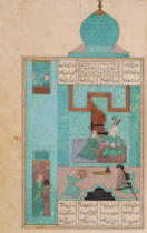 Persian School - Ms D-212 fol.216a Bahram Visits a Princess in the Turquoise Pavilion, illustration to 'The Seven Princesses', 1199, by Elias Nez