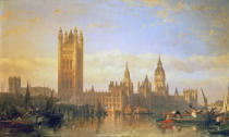 David Roberts - New Palace of Westminster from the River Thames
