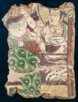 Chinese School - Fragment depicting a Buddhist paradise, from Duldur-Aqur, Xinjiang, c.700 AD