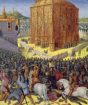 Jean Fouquet - Ms Fr 247 fol.213 The Siege of Jerusalem by Nebuchadnezzar, illustration from the French translation of the original manuscript