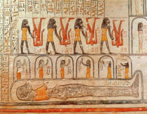 Egyptian 20th Dynasty - Detail from the Book of the Earth, from the burial chamber of the Tomb of Ramesses VI (r.1143-1136 BC) New Kingdom