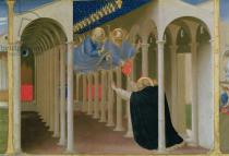 Fra Angelico - Apparition of SS. Peter and Paul to St. Dominic, from the predella panel of the Coronation of the Virgin, c.1430-32