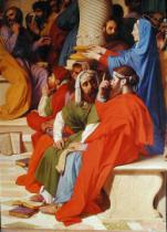 Jean-Auguste-Dominique Ingres - Jesus Among the Doctors, detail of the doctors and the Virgin Mary, 1862
