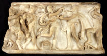 Greek School - Fragment of a sarcophagus depicting satyrs and a maenad