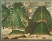 Japanese School - Spring Landscape with Sun, part of a six panel folding screen