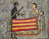 Ribagorça Workshop Johannes Pintor - Detail of The Death of St. Martin of Tours, detail from an altar frontal from the Church of Saint Martin in Chia, 1150-1200