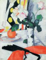 Samuel John Peploe - Still Life: Roses in a Chinese Vase with Black Fan, 1924