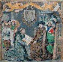 Meister des Bartholomäusaltars - The Presentation of a Book to a Lord