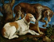 Leandro da Ponte Bassano - Two Hunting Dogs Tied to a Tree Stump, c.1548-50