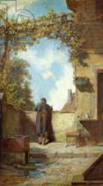 Carl Spitzweg - Old Man on the Terrace