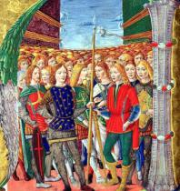 Alessandro Pampurino - Historiated initial 'N' depicting St. Maurice and the Theban Legion, Lombardy School, c.1499-1511