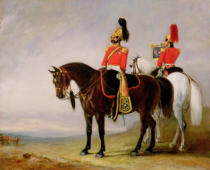 John E. Ferneley - Colonel James Charles Chatterton (1792-1874) the 4th Royal Irish Dragoon Guards, on his Charger accompanied by his Trumpeter, c.