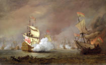 Willem van de Velde - Sea Battle of the Anglo-Dutch Wars, c.1700