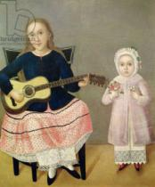 Mexican School - Young Girl with a Guitar and Child with a Bouquet