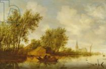 Salomon van Ruysdael - River Landscape with Church