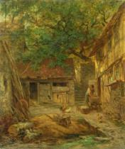 Anton Burger - A Farmhouse Courtyard, 1862