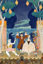 Georges Barbier - Pantomime Stage, illustration for 'Fetes Galantes' by Paul Verlaine (1844-96) 1924